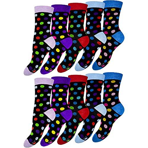 OCERA 10 Paar Damen Socken mit buntem Pünktchen-Muster - Gr. 35-38