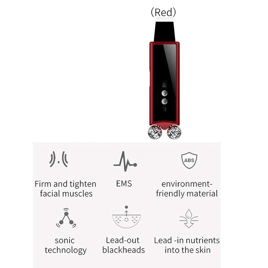 注釈るピューフェイシャルスクラバー、マイクロカレントローラーフェイスマッサージャー、EMSマッサージャー、にきび除去毛穴カットインリムーバー、リフトボディスリミングスキンケア引き締めツール,Red
