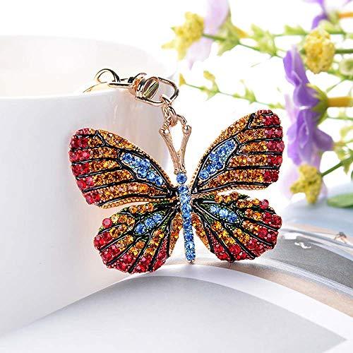 Anillo de llavero de mariposa brillante,Llavero de aleación de diamantes de imitación completo para mujeres / accesorios de bolso de coche para niña / llavero de moda / colgante de colgante de bolso