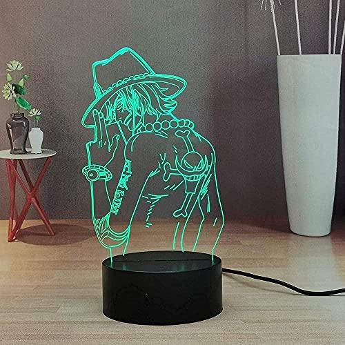 3D LED Luz de noche - Figura de Anime One Monkey D Luffy,7 colores Cambio control remoto 3D Ilusión óptica Lámpara,3D illusion lamp Adecuado para regalos navideños para niños y niñas