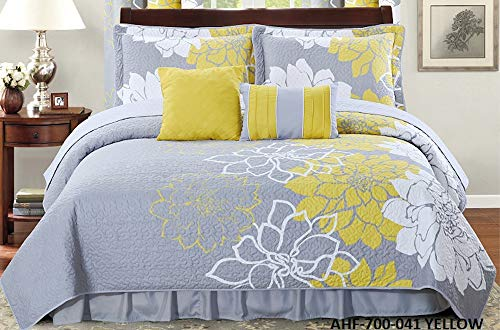 All American Collection New 6pc Flower Printed Reversible Bedspread Set with Dust Ruffle (Queen Size, Yellow/Grey)
