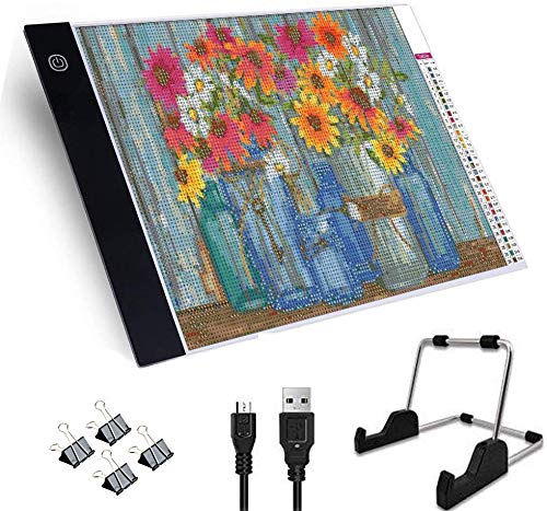 Toolacc - Kit de placa de luz regulable con USB para taladro completo, pintura de diamante 5D con soporte desmontable y 4 pinzas