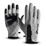 T98 Touchscreen Handschuhe, Fahrradhandschuhe Laufhandschuhe Winter Warme Sporthandschuhe Herren Damen Winddicht Wasserdichter Winterhandschuhe für Radfahren, Wandern, Skifahren(Gray, XL)