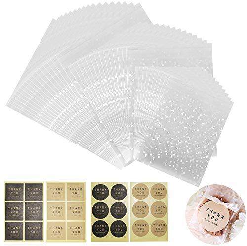 300 Pièces Sac Bonbon Transparent Sac Plastique Transparent Plastique OPP Pochette Sac de Cadeaux Sac d'Emballage Cellophane 7x7 / 10x10/ 14x14cm pour Biscuit Sandwich Chocolats Perles