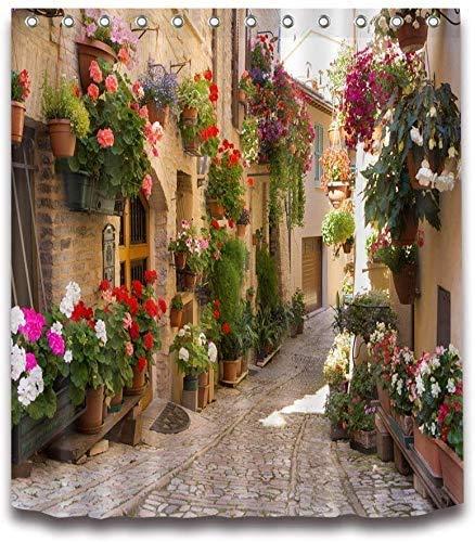 N / A Duschvorhang im europäischen Stil & Naturszene 3D-Druck Mediterrane griechische Szene alte Straßenblumenbildfamilie wasserdicht & schimmelfest dekorativer Duschvorhang A55 90x180cm