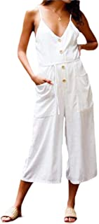 Women Summer Strappy V Neck Backless Cotton Linen Playsuit Party Jumpsuit