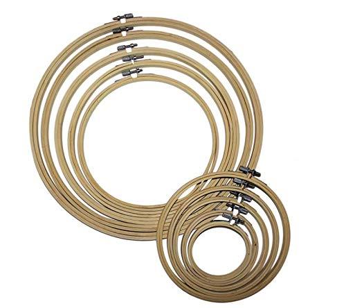 Aro de bordado (10 unidades) – Aro de madera de bambú – Kit surtido de aros de madera para punto de cruz – Juego de costura para tela y material interior aro para trabajo de patrón
