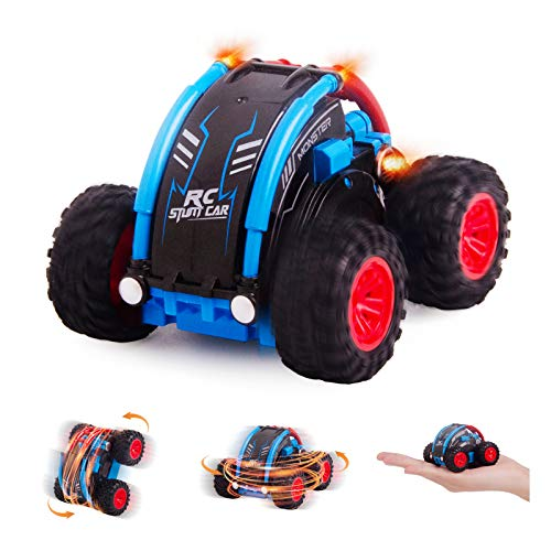 Mini RC Stunt Cars for Kids, Fancy Stunt Remote Control Car 4WD RC Toy Car 360 Degree Spins & Flips with All Terrain Tires and 2.4 GHZ Remote Control Red & Blue