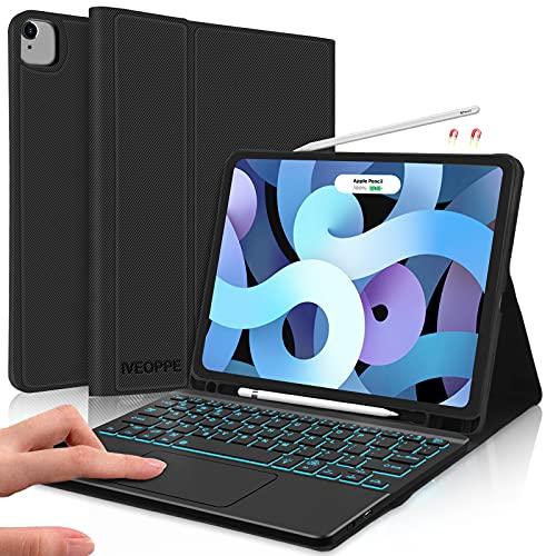 IVEOPPE Funda con Teclado Compatible con iPad Air 4ª generación 10.9'' 2020, Funda con Teclado Bluetooth Magnético Retroiluminado para iPad 10.9 Pulgadas/iPad Pro 11 Pulgadas (Negro)