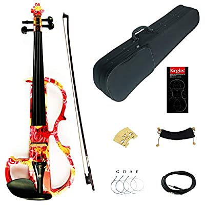 Kinglos 4/4 Colored Solid Wood Advanced Electric/Silent Violin Kit with Ebony Fittings Full Size