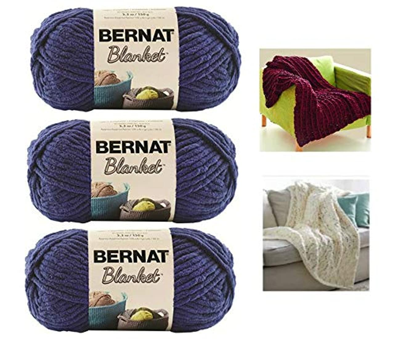 Bernat Blanket Yarn - 3 Pack Bundle with 2 Patterns - Navy