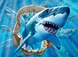 Ceaco - 100 Piece Undersea Glow - Great White Delight Glow in The Dark, Kids Jigsaw Puzzle