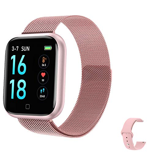 2021 Latest Smart Watch, Fitness Tracker with Temperature/Heart Rate/Sleep/Steps Monitor Compatible for iPhone Samsung Android, Smartwatch for Men Women (Samrt Watch-Pink)