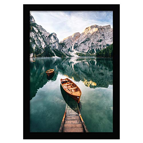 Americanflat Poster Frame in Black with Shatter Resistant Glass - Horizontal and Vertical Formats - Wall Mounted - 12' x 18'
