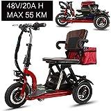 Msoah Le Mini-Tricycle Électrique Se Pliant Au Lithium Adulte De Scooter Électrique Portatif pour La Voiture 48V De Batterie...
