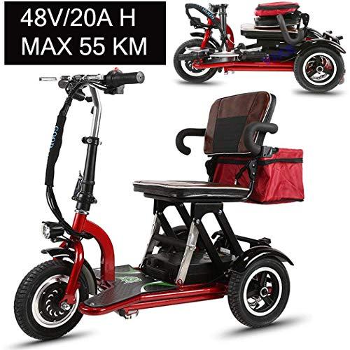 Msoah Dreirad Retro Elektromobil Elektroroller, Elektro-Dreirad-Roller, Faltbare Beweglich Erwachsene Behinderte Älteres Scooter Batterie-Auto, 48V20AH/55km-Lithium-Batterie, Rot