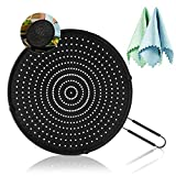 """Silicone Splatter Screen for Frying Pan 13"""", Multi-Use Splatter Shield, Food Safety, High Heat Resistant Oil Splash Guard Universal Pan Cover, Cooling Mat, Strainer, Drain Board, (Fish Scale Rag×2)"""