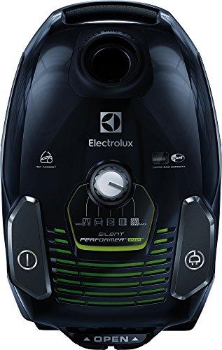 Electrolux ESP7GREEN Aspirapolvere con Sacco Silent Performer, Ergoshock, Sistema Silence Pro, Ruote Pivotanti, 3.5 L, Versione Green, Nero
