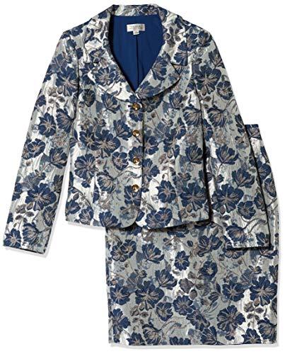 Tahari ASL Women's Nested 4 Button Jacquard Jacket and Pencil Skirt, White Navy Metallic, 14