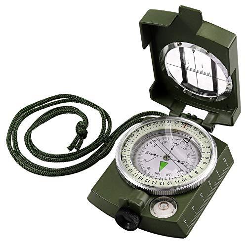 Proster Kompass, Militär Marschkompass Taschenkompass Peilkompass, Professioneller Kompass Compass mit Taschen und Lanyard, für Jagd Wandern und Aktivitäten im Freien -Camouflage Grün …