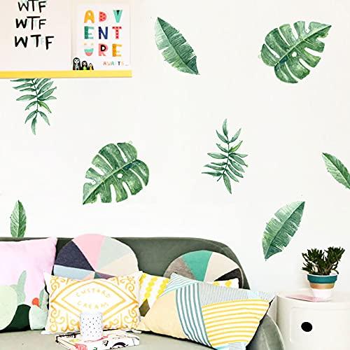 JZLMF Pegatinas de Pared de Plantas Verdes Tropicales Personalizadas decoración de guardería Fondo de habitación de niños Pegatinas de Pared para niños (14.8x21cmx6Pcs) SY006