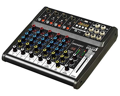 IS 2MIX6XU Kompakter 6-Kanal Mischpult mit USB-Recorder, integrierter Audioschnittstelle und Bluetooth-Funktionen