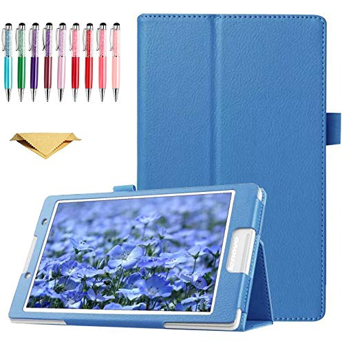 QYiD Funda para Lenovo Tab 2 A8-50, A8-50F, Also Tab 3 TB3-850F, TB3-850M, ZA170001US, ZA170003US, Slim Folding PU Leather Cover with Auto Sleep/Wake Feature, Azul Claro