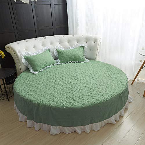 HPPSLT Protector de colchón Acolchado - Microfibra - Transpirable Cama Redonda Falda de Cama de algodón Lavado-Falda de Cama Verde_2.2m