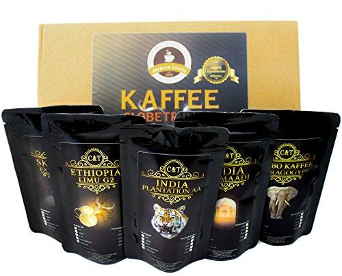 Kaffee Globetrotter - Echte Raritäten - Box (Mittel Gemahlen [Filter+Hand]) - 5 Mal 65g Raritäten Spitzenkaffee - Werden Sie Zum Entdecker - Geschenk Set - Länder Kaffee aus aller Welt