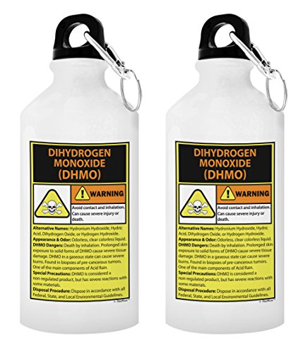 Science Teacher Appreciation Gifts for Women Warning Dihydrogen Monoxide H20 Pun Science Jokes Puns Funny Periodic Table Gift 2-Pack 20-oz Aluminum Water Bottles with Carabiner Clip Top White