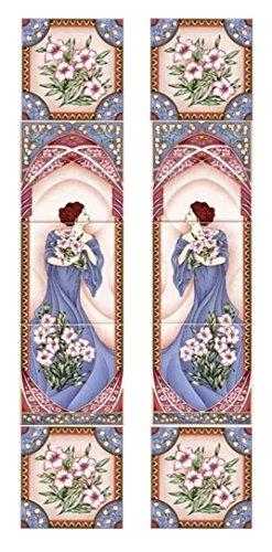 Blauwe dame open haard tegel muurschildering decoratieve klassieke dame verticale 5 tegels muurschildering hand versierd in het Verenigd Koninkrijk