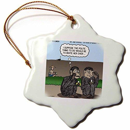 3dRose ORN 5294_ 1Dr. Jane Goodalls 50. Jahrestag bei GDI zivilisierte Monkey Einladung Schneeflocke Ornament, Porzellan, 3Zoll