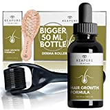 KEAPURE Derma Roller for Hair Growth - 1.7oz Natural Hair Regrowth Serum + Wooden Hair Scalp Massager and Micro Needling Roller for Hair | Advanced Scalp Stimulator Hair Regrowth for Men and Woman