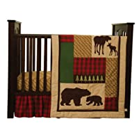 Cozy Cabin Nature Animals Nursery Crib Bedding Set with Moose & Bear with Quilt,Crib Skirt,Valance,Sheet,Storage Caddy, Gender Neutral for Baby Girl or Boy by Trend Labs [並行輸入品]