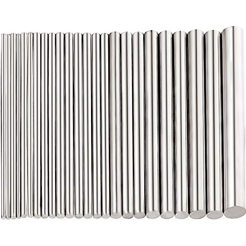24 Pieces 304 Stainless Steel Round Rods Bar Assorted Diameter 1.5-8 mm for 100 mm Length -Free Stainless Steel Rod for Drift Punches Various Shaft DIY Craft Model Plane Model Ship Model Cars