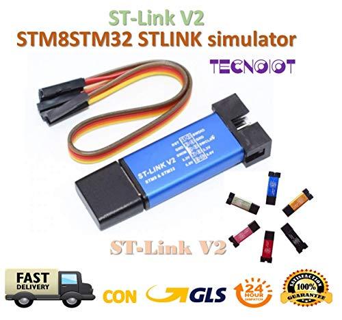 TECNOIOT ST-Link V2 Mini STM8 STM32 STLINK Simulator Download Programming | St-Link-Programmiereinheit V2 Metall Mini Shell STM8 Emulator STM32 Downloader