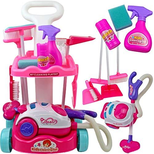 2-5 Tage Liefer,Toy Handstaubsauger,Playset mit Staubsauger und Zubehör mit Licht und Sound Putzset Putz Set,Putzset für Kinder Spielzeug - Putz SetCleaning : Spielzeug,mit viel Zubehör