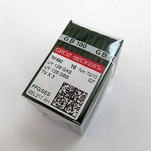 100 agujas para máquina de coser industrial Groz-Beckert Uy128Gas Uyx128Gas Tvx3 para Juki Brother Pegasus Yamato+ (tamaño de aguja: 9/65)