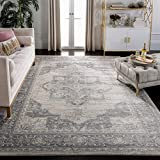 Safavieh Brentwood Collection BNT865B Medallion Distressed Non-Shedding Stain Resistant Living Room Bedroom Area Rug, 8' x 10', Cream / Grey