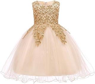 KINDOYO Newborn Toddler Girls Ball Gown - Wedding Party Dress Bowknot Christening Baptism Organza Tutu Fancy up Dress, Gold, 24M
