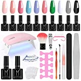 Winload Kit Uñas Semipermanentes, 10 Colores Esmalte Semipermanente en Gel 10ml, Lámpara UV LED...