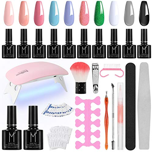 Winload Kit Uñas Semipermanentes, 10 Colores Esmalte Semipermanente en Gel 10ml, Lámpara UV LED para Uñas 6W, Soak Off Base y Top Coat, 50 Pcs Removedor de Uñas, Herramiento para Manicura Pedicura