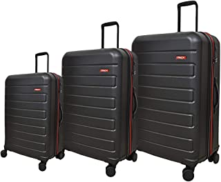 Track Solid Luggage Trolley Bag, 4 Wheels, 3 Pieces - Black
