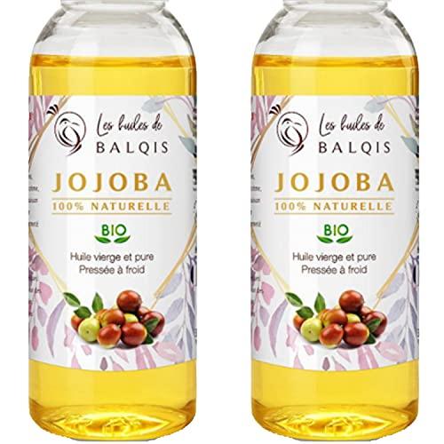 Huile de Jojoba oil 100% bio naturelle pressée à froid 2x50ML pure et naturelle soin nourrit et stimule le cheveux hydrate et adoucit la peau visage corps ongles