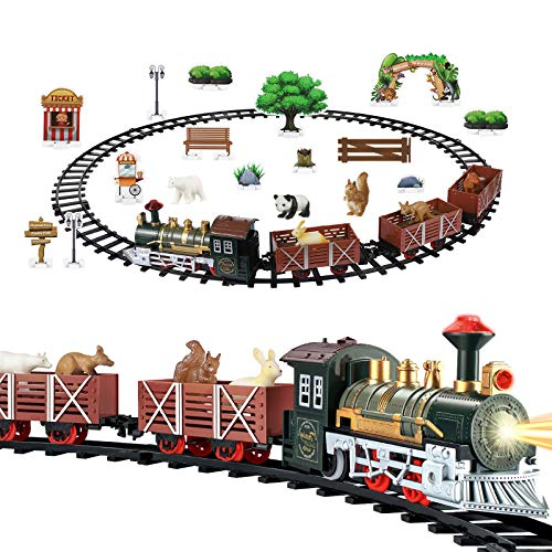 Christmas Train Set with Light & Sound, Electric Battery Operated Train Toy for Christmas Tree, Kids Toy Train Set with Toy Animals, Railway Tracks and Cars, Gifts for 3 4 5 6 Year Old Boys Girls