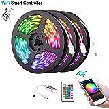5M 10M 15M WiFi LED Strip Light RGB Impermeable SMD 5050 RGB LED Strip Tape DC 12V + Control remoto + Adaptador-RGB_15M (3X5M)