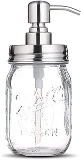 bonris 16oz Clear Glass Jar Soap Dispenser with Stainless Steel Pump Classic Decor for Bathroom Kitchen Farmhouse Decor Great for Essential Oils, Lotions, Liquid Soaps