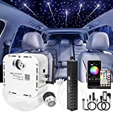 CHINLY 32w Meteor Twinkle 830pcs 13.1ft (0.03in+0.04in+0.06in) Bluetooth RGBW LED Fiber Optic Star Ceiling Light,APP Music Mode+Meteor Light kit+Adapter+Cigarette Lighter+10 Crystals,for Car/Ceiling