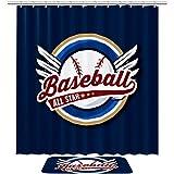 Alfombras de baño Cortina de ducha Accesorios de baño Home Floor mat Set Poliéster Dos Piezas Béisbol All Star Bagde Ilustración
