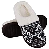 HOMEHOT House Slippers for Women Memory Foam Slippers Comfy Knitted Slide Bedroom Slippers Plush Fleece Lined Anti Slip Rubble Sole Clog Shoes Size 8 Black
